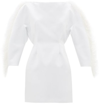 Christopher Kane Feather-trimmed Duchess-satin Mini Dress - White