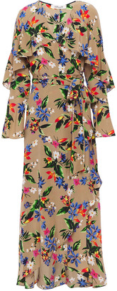 Diane von Furstenberg Ruffled Floral-print Silk Crepe De Chine Midi Wrap Dress