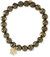 Sydney Evan Pyrite Beaded Bracelet w/ 14k Diamond Paw Charm