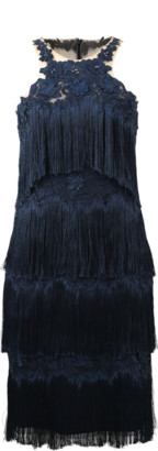 Marchesa Fringe Cocktail Dress