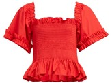 Molly Goddard Sydney Ruffle-trimmed Smocked Cotton Top - Womens - Red