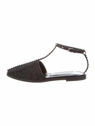 Jimmy Choo Leather Glitter Accents T-Strap Sandals Black