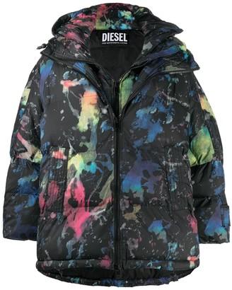 Diesel Paint Splash-Print Oversized Quilted Coat
