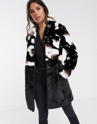 Barneys New York Barneys Originals faux fur coat in cow print-Multi