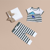 Burberry Striped Cotton Two-piece Baby Gift Set with Appliqué