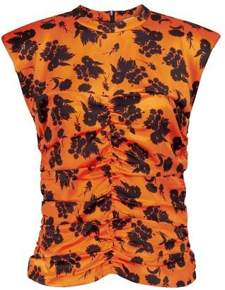 Ganni Floral stretch-silk satin top