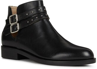 Geox Brogue Leather Buckle Boot