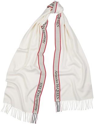 Alexander McQueen Ivory Logo Wool-blend Scarf