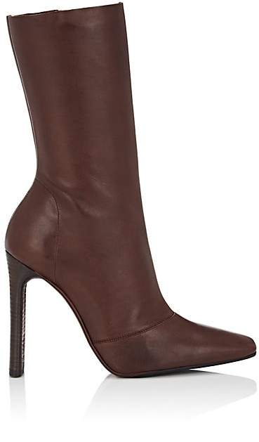 Yeezy Women's Stretch-Leather Ankle Boots - Md. Red