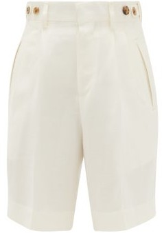 Umit Benan B+ - High-rise Double-pleated Shorts - Womens - White