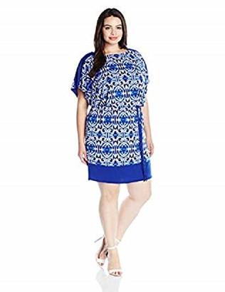Sangria Women's Plus-Size Ikat Print Dolman Blouson Shift