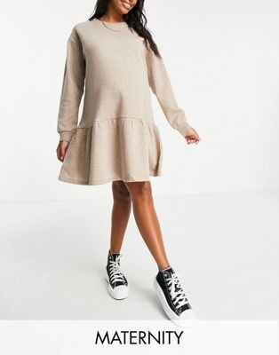 Pieces Maternity jumper dress with ruffle detail in stone