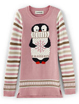 Classic Toddler Girls Intarsia Sweater Legging Top-Silver Pink Penguin