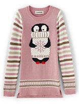 Lands' End Girls Intarsia Sweater Legging Top-Glitter Bear Face