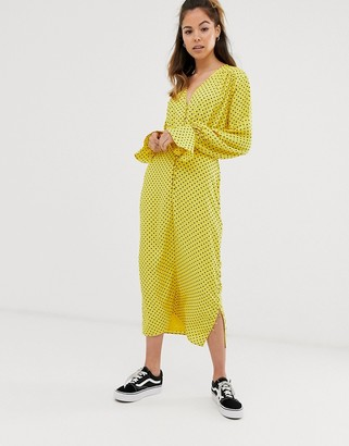 ASOS DESIGN button front midi tea dress with fluted sleeve in yellow spot