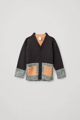 Cos Color-Block Cotton-Wool Cardigan