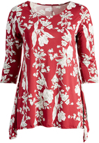 Glam Burgundy & White Floral Sidetail Tunic - Plus