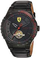 Ferrari Scuderia Men's Mechanical Hand Wind Stainless Steel and Leather Casual Watch, Color:Black (Model: 830366)