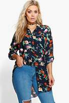 Boohoo Plus Soph Oversized Floral Shirt multi
