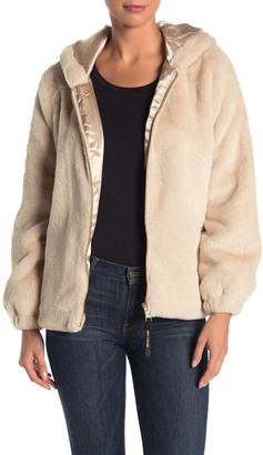 Juicy Couture Faux Fur Hooded Zip Front Jacket