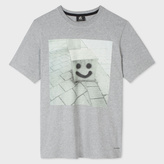 Paul Smith Men's Grey Marl 'Smiley' Print Organic-Cotton T-Shirt