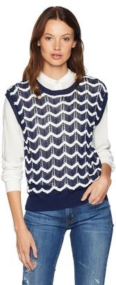 EVIDNT Women's Wave Stripe Pattern Lightweight Knit Vest Top