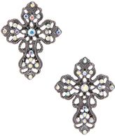Carole Crystal & stainless Steel Filigree Cross Stud Earrings