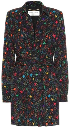 Saint Laurent Star-print jacquard minidress