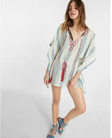 Express embroidered cinched waist poncho