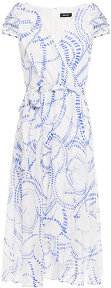 DKNY Asymmetric Wrap-effect Printed Crepon Midi Dress
