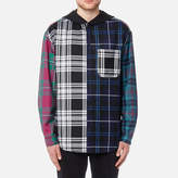Alexander Wang Wool Tartan Multi Combo Hooded Shirt Blue/multi