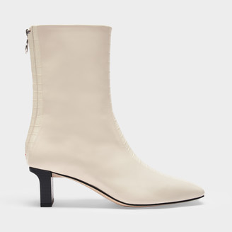 AEYDĒ Ankle Boots Molly In Creamy Croc Embossed And Smooth Leather
