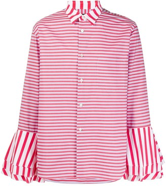 Comme des Garcons Ruffled-Cuff Striped Shirt