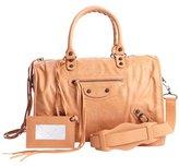 Balenciaga orange leather 'Maxi Twiggy' zipper buckle detail convertible satchel