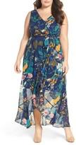 Sangria Plus Size Women's Floral Faux Wrap Maxi Dress
