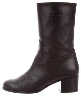 Chanel Leather CC Boots