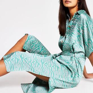 River Island Green animal print shirt midi dress