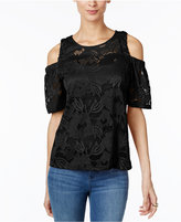 INC International Concepts Petite Lace Cold-Shoulder Top, Only at Macy's