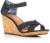 Toms Sienna Denim Ankle Strap Wedge Sandals