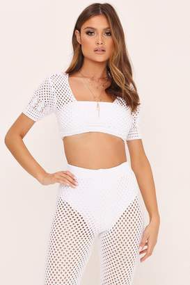 I SAW IT FIRST White Short Sleeve Crochet Crop Top