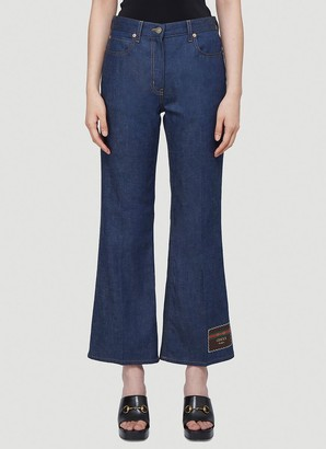 Gucci Logo Patch Cropped Jeans