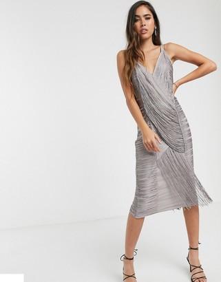 Asos Design DESIGN midi dress in draped fringe-Grey