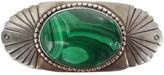 One Kings Lane Vintage Incised Sterling & Malachite Brooch - Laurie Frank - green/silver