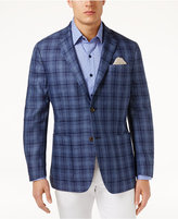 Tasso Elba Men's Classic-Fit Textured Plaid Linen Sport Coat, Only at Macy's