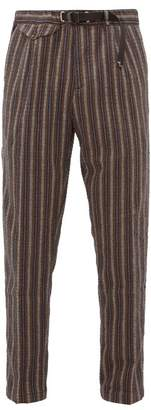 White Sand - Striped Cotton Blend Seersucker Trousers - Mens - Brown Multi