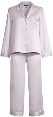 Natori Purple Dove Feathers Two-Piece Satin Pajama Set