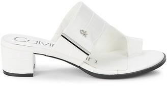 Calvin Klein Daniela Croc-Embossed Faux Leather Heeled Sandals
