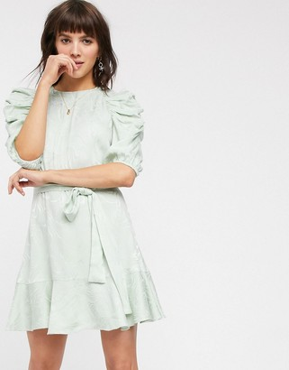 And other stories & swirly jacquard belted mini dress in sage green