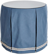 One Kings Lane Eden Round Skirted Table - Indigo - upholstery, indigo/ivory; glass, clear