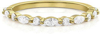 Dominique Cohen 18k Yellow Gold Diamond Bead, East-West Marquise Stacking Ring, Size 7